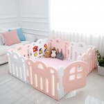 Haenim Toy Petit Baby Room 8 Panels + Play Mat SET - (147 x 147 x 60 cm) - Pink / White