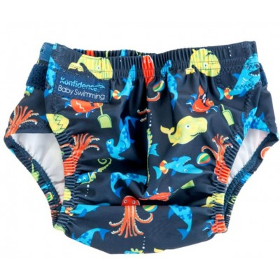 Konfidence AquaNappy Swim Nappy (One Size) - Sea Friends Navy