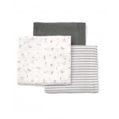 Mamas & Papas Large Muslin Squares (3 Pack) - Grey
