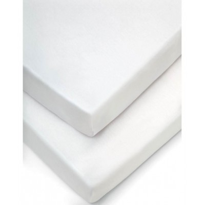 Mamas & Papas Moses Fitted Sheets (Pack of 2) - White (30 x 68cm)