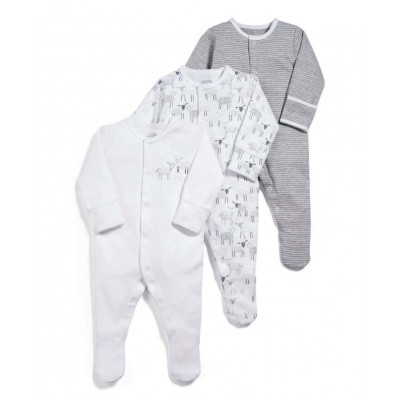 Mamas & Papas Sheep Sleepsuits All-in-Ones (Set of 3) - 0-3mos