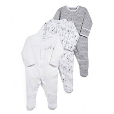 Mamas & Papas Sheep Sleepsuits All-in-Ones (Set of 3) - 3-6mos