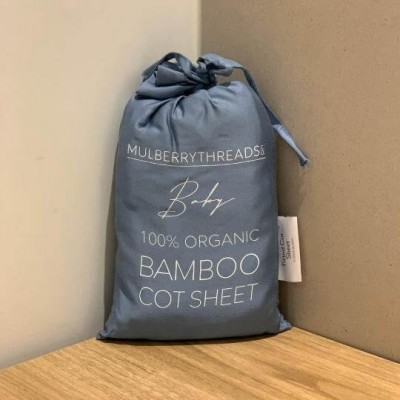 Mulberry Threads 100% Organic Bamboo Cot Sheets (Fitted 132 x 70cm) - Chambray