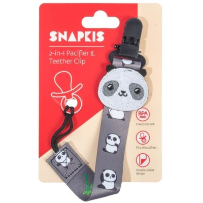 Snapkis 2-in-1 Pacifier & Teether Clip - Panda
