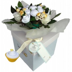 Dotty Bee Bouquet & Cupcake Gift Set - whit..