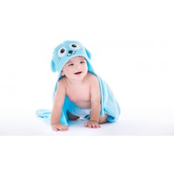 Happy Kid Hooded Towel - Blue Puppy