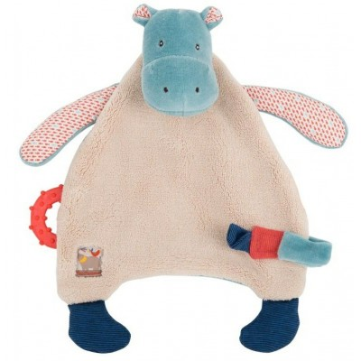Moulin Roty Les Papoum Hippo Comforter with Pacifier Holder 24cm