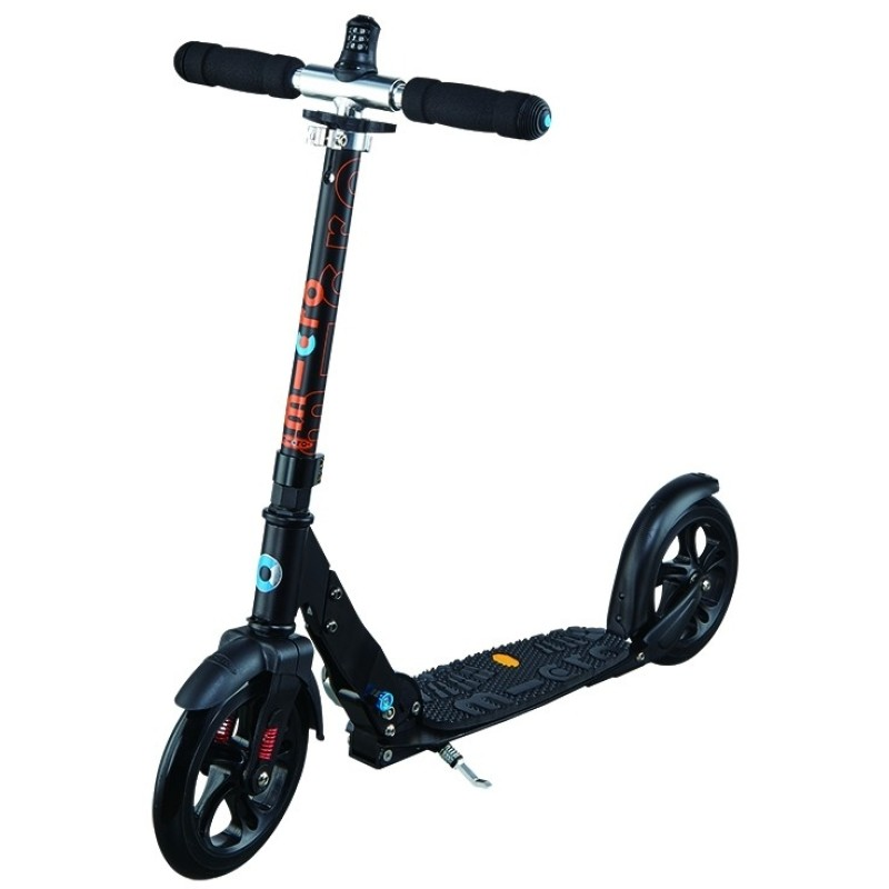 micro scooter deluxe black 200mm pu wheel. Black Bedroom Furniture Sets. Home Design Ideas
