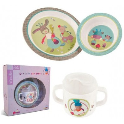 Moulin Roty Les Jolis Pas Beaux Baby Meal 4C Box incl. Plate+Bowl+Cup