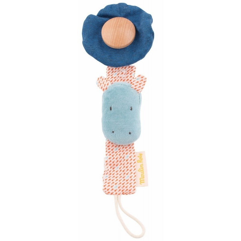 Moulin Roty Les Papoum Hippo Pacifier Clip On Holder 25cm