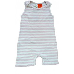 Nature Baby - French Singlet Suit - Wide Pink Stripe (1Yr)