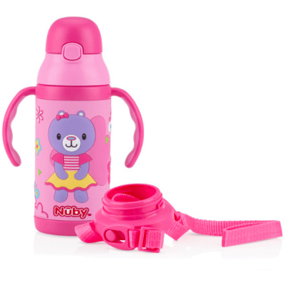 Nuby 1pk 385ml Twin Handle 3D Printed Stainless Steel Cup with Exchangeable Strap - Pink