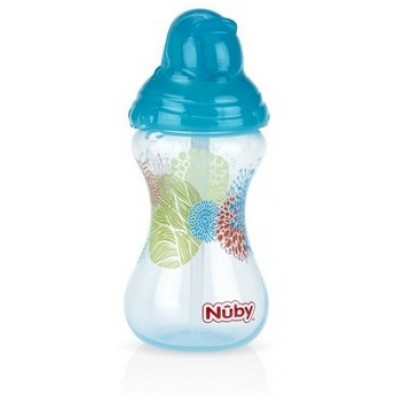 Nuby Designer Series No-Spill Clik-it Flip-it 300 ml - Aqua 12m+