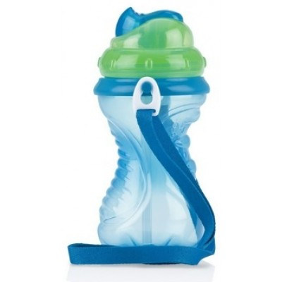 Nuby Flip It - Straw Cup With Strap 420 ml - Blue