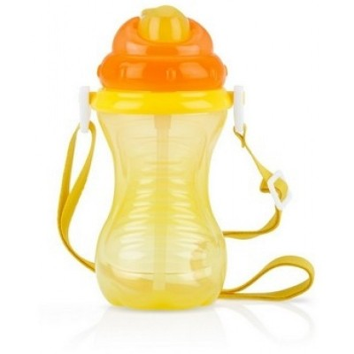 Nuby Flip It - Straw Cup With Strap 420 ml - Yellow