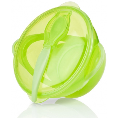 Nuby Garden Fresh Suction Bowl w/Spoon and Lid - Green