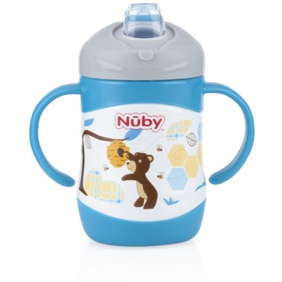 Nuby No-Spill Clik-it Stainless Steel Insulated Soft Sipper 220ml - Blue - Bear