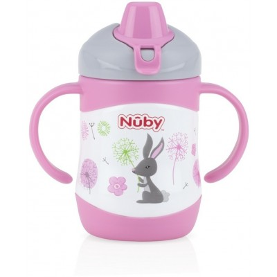 Nuby No-Spill Clik-it Stainless Steel Insulated Soft Sipper 220ml - Pink - Hare