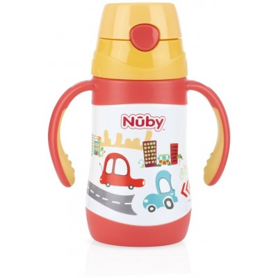 Nuby No-Spill Clik-It Stainless Steel Insulated Flip-It 280ml - Red - Cars