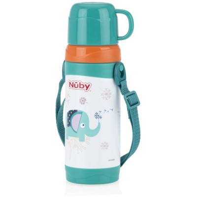 Nuby No-spill Clik-it Stainless Steel Insulated Store n pour 360ml - Green - Elephant
