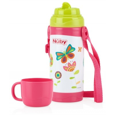 Nuby No-spill Clik-it Stainless Steel Insulated Store n pour 360ml - Purple - Butterfly