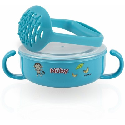 Nuby Stainless Steel Printed Suction Bowl with Round Handles - Blue
