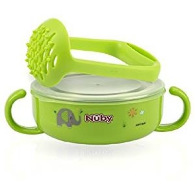 Nuby Stainless Steel Printed Suction Bowl with Round Handles - Green