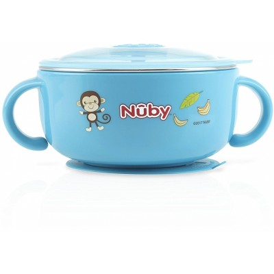 Nuby Sure Grip Warming Stainless Steel Feeding Bowl - Blue
