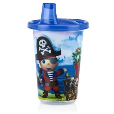 Nuby Wash or Toss Spout Cups with Lids (300ml x 3) - Boy