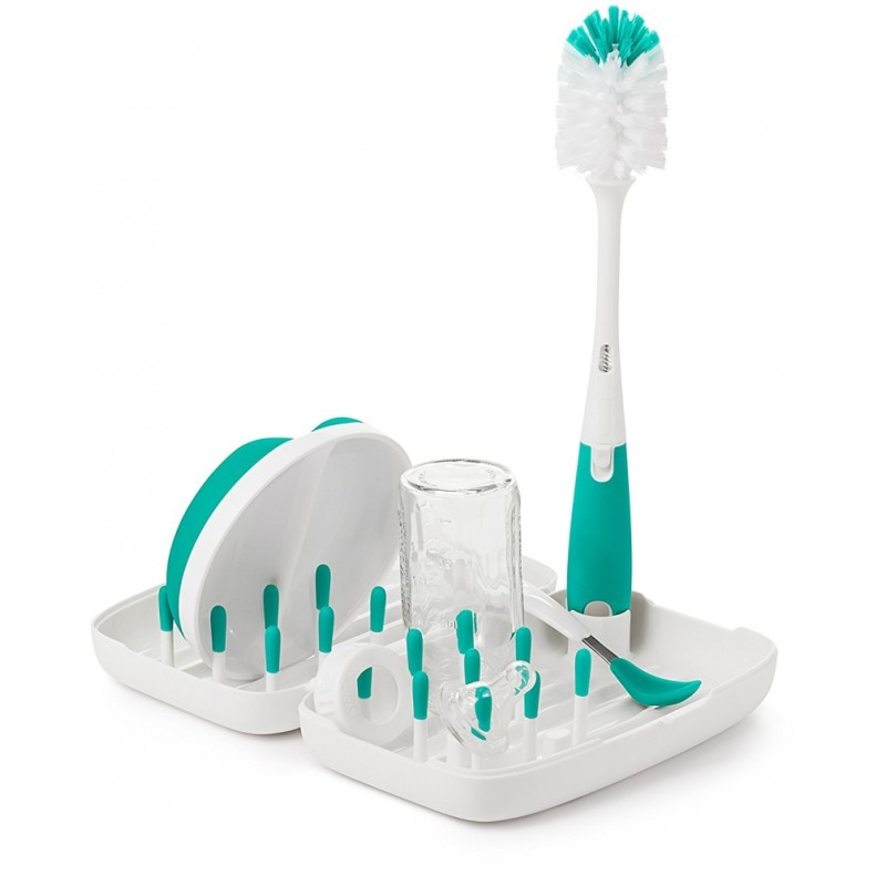 Oxo Tot On The Go Drying Rack With Bottle Brush Teal