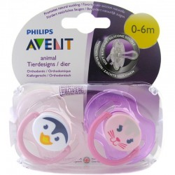 Philips Avent Animal Soother 0-6months Pink