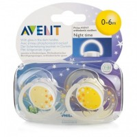 Phillips Avent Night Time Soother 0-6months Yellow