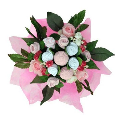 Dotty Bee Baby Clothes Bouquet - Pink