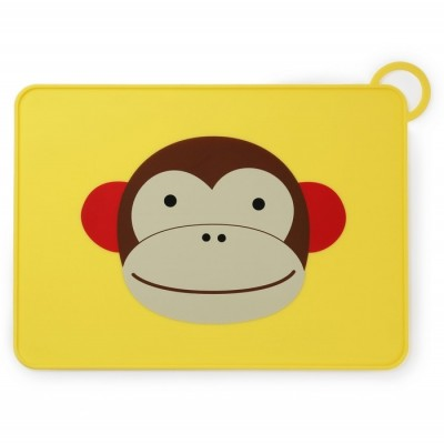 Skip Hop Zoo Fold & Go Silicone Kids Placemat - Monkey