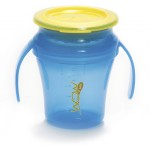 Wow Gear 7 oz. (207ml) JUICY! WOW Baby Cup - Translucent Blue cup and handle assembly & Yellow freshness lid and valve