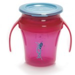Wow Gear 7 oz. (207ml) JUICY! WOW Baby Cup - Translucent Pink cup and handle assembly & Teal Blue freshness lid and valve