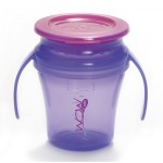 Wow Gear 7 oz. (207ml) JUICY! WOW Baby Cup - Translucent Purple cup and handle assembly & Pink freshness lid and valve