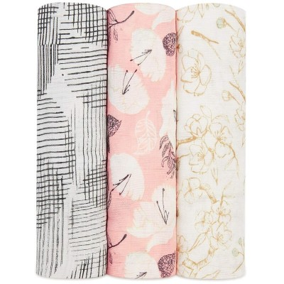 aden + anais Silky Soft Swaddles 3-Pack - Pretty Petals