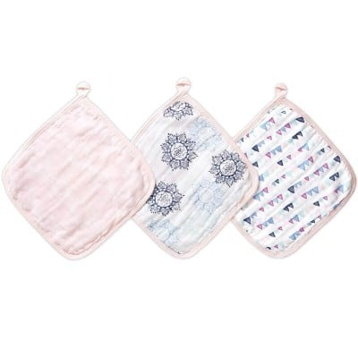 aden + anais Washcloth Set - Pretty Pink 3-Pack