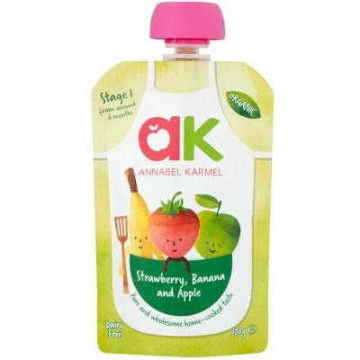Annabel Karmel Organic Strawberry, Banana & Apple Puree 100g (6 mos+)