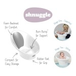 Shnuggle Baby Bath with Plug & Foam Backrest - White