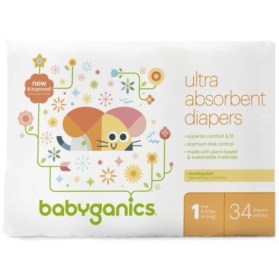 Baby Ganics Ultra Absorbent Diapers (Sizes 1-5)