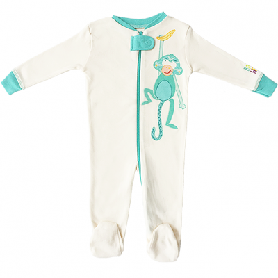 Baby Hero Monkey Footie - Turquoise, 100% Organic Cotton 0-3m / 3-6m