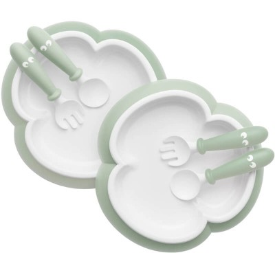BabyBjorn Baby Plate, Spoon and Fork, 2-Sets - Powder Green