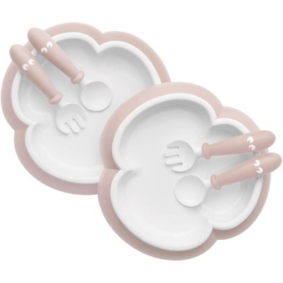 BabyBjorn Baby Plate, Spoon and Fork, 2-Sets - Powder Pink