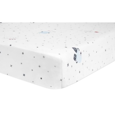 Babyletto Full Crib Fitted Sheet - Galaxy Floating Robots (132x71cm)