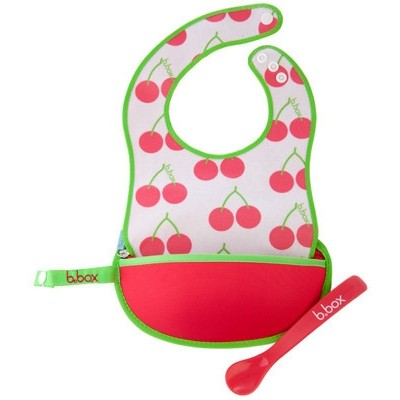 b.box Travel Bib + Spoon - Cherry Delight