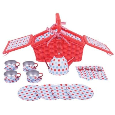 Bigjigs Toys Spotted Basket Tea Set