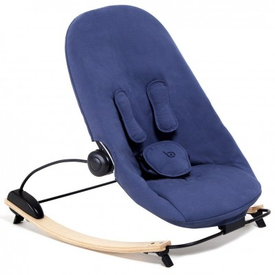 Bloom Coco Go Baby 3-in-1 Lounger - Natural Frame with Navy Blue Organic Seat Pad