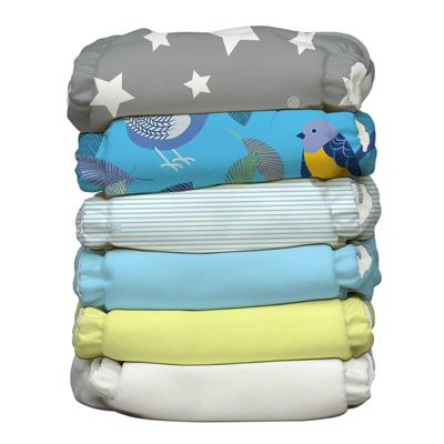 Charlie Banana 6 Diapers 12 Deluxe Inserts - Twitter Star (One Size Hybrid AIO)